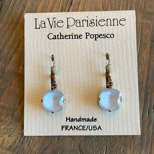 Catherine Popesco 12mm Gray Crystal Earrings NWT